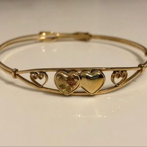 Jewelry - Children's Vintage Gold Bracelet with Hearts